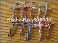cross beads - 50X High Quality x mm Mixed Color Crystal Rhinestones Sideways Cross Bracelet Connector Beads