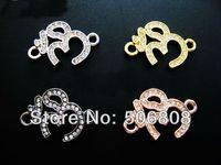 om pendant - 40PCS NEW Mixed Sideways Crystal Rhinestones OM OHM Sign Bracelet Connector Charm Beads Pendants