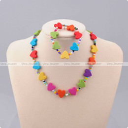 Wholesale Children Jewellery Girls Gift Kid Jewelry Necklace Bracelet Set Multi colored Hearts sets