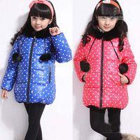 Christmas Girl 4-12 year old  Girls winter baby coats Chidren's warm cotton clothes polka dot design black fur collar 4pcs lot bnm