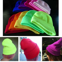 Wholesale Fluorescent Colors Knitted Caps Headgear Unisex Style Wool Caps Hip Hop Hats Girls Boys