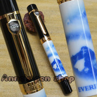 Calligraphy & Fountain Pens   FREE SHIPPING JINHAO 650 WHITE AND BLUE PORCELAIN EVEREST 18KGP BROAD NIB FOUNTAIN PEN