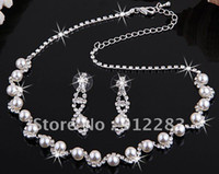 Wholesale Silver Plated Pearl Rhinestone Bridal Necklace Earrings Set Wedding Jewelry