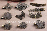 Alloy alligator pins - Mix Shape Antique Bronze Metal Alligator Hair Clips Hair Clips amp Bobby Pins