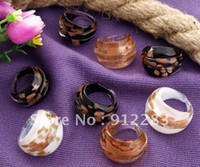 Wholesale Hot mm Dots Gold Sand Lampwork Glass Murano Rings New Fashion Murano Women Rings