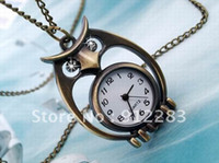 Wholesale Hot Sell Antique Bronze Owl Necklace Pendant Rhinestone Watch