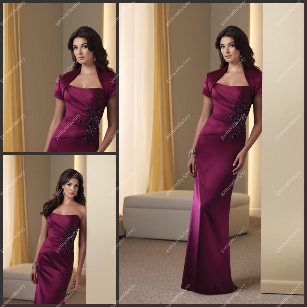 2013 Fashion Plum Satin Mother Of The Bride Dress With Bolero Mother S Wedding Gown Dropshipping