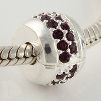 Wholesale Loose Beads Charms Clips Buckle Clasp Sexy wine And White CZ SILVER Jewelry Accessories KT025