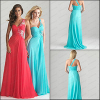 Cheap Aqua Coral One Shoulder Prom Dresses Beaded Strap Accent Ruched Bodice Flowing Chiffon P6714