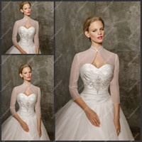 Wholesale Long Sleeve Jackets Organza Simple Design Bridal Jackets Ladies Jackets