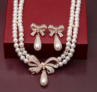Wholesale Gold Plated Double Strand Cream Pearl Rhinestone Crystal Bow Bridal Jewelry Necklace earrings set