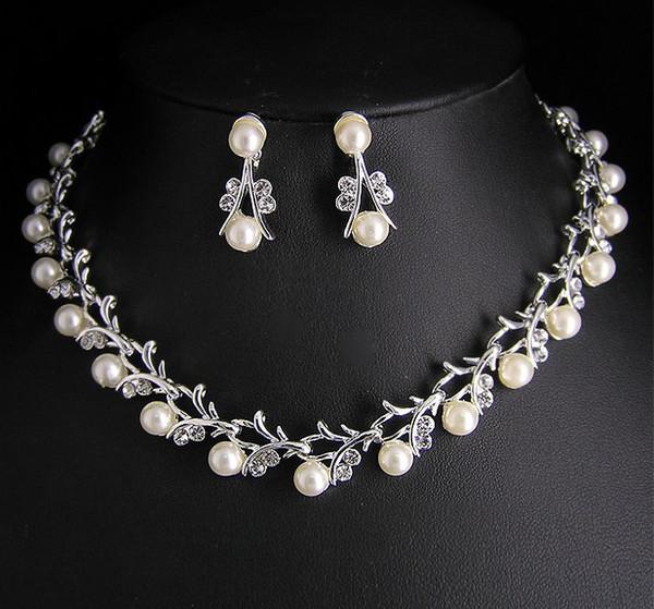Высокое качество уникальный тайл Кристалл и жемчуг свадебное ожерелье и серьги к