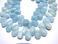 Wholesale handmade natural beryl aquamarine gemstone teadrop pear faceted jewelry bead x8mm strands