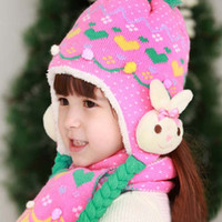 Wholesale Winter Scarf Knitting Patterns Kids Scarf Children Knitted Winter Caps Cashmere Caps Scarf Fashion