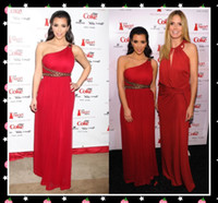 Reference Images Fashion Week One-Shoulder Glamorous Kim Kardashian One Shoulder Celebrity Dress Sheath Full Length Red Chiffon Evening Dress