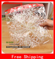 Wholesale Christmas Gifts Merry Xmas Tree House Decoration White Plastic Snowflake Sheet Ornament With Shining