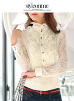 Wholesale Sexy blouses ladies blouses sexy chiffon blouse white grey lace blouse blouses fashion blouse