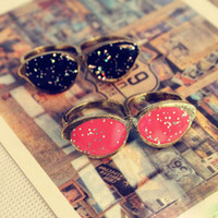 Wholesale vintage punk Glasses Double Rings charm gift Fashion Jewelry