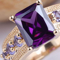 Wholesale 6pcs eLuna Oblong Solitaire Purple Amethyst Lady Fashion GF Ring Size Wife Gift GF J7518