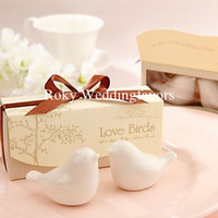 Kitchen Tools ceramic christmas - Promotion DHL quot Love Birds In The Window quot Ceramic Salt Pepper Shakers Wedding Favor boxes