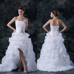 Wholesale High Quality Sweety Princess Front Short Back Long Organza Bridal Dress WD075