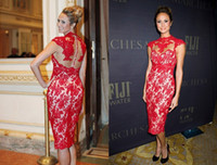 Wholesale New Arrival Custom Made Stacy Keibler Sheath Elegant Red Lace Knee Length Red Carpet Celebrity