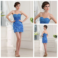 Wholesale Hot Sale Light Sky Blue Sweetheart Beaded Short Feather Cocktail Dress Fashion