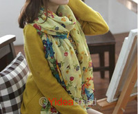 Wholesale Free Ship Yellow Chic Warm Country Long Rectangel Floral Scarves Scarf BKW