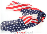 Wholesale pc Fall Winter US Flag Star Stripe Suncare Soft Scarves Scarf Shawl
