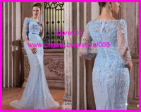 Wholesale Gorgeous Beaded Mermaid Sequins Evening Gowns Prom Dresses With Long Sleeves E2153