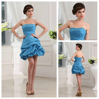 Wholesale High Quality Light Sky Blue Beaded Taffeta A line Cocktail Gown Prom Dress