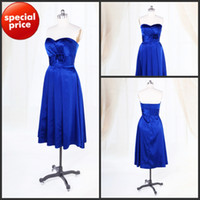 Wholesale Cheap Royal Blue Taffeta Sweetheart A line Short Ruche Flower Bridesmaid Dresses Bridal Party Gowns