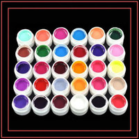 Wholesale 30 Colors UV GEL Pure Color UV GEL Soak Off Gel Lacquer For Nail Art Tips Extension With Retail Box