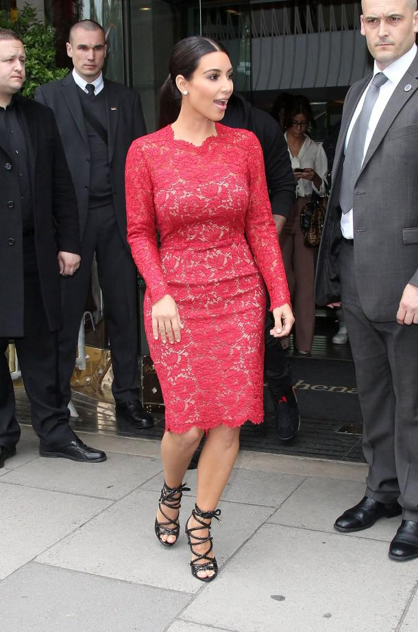 Kim Kardashian Sexiest Red Long Sleeves Lace Party Celebrity Gown ...