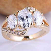 Wholesale 6 Pieces eLuna gem Oval Clear White Topaz Ring for Lady Size Gold Filld GF Chic Wear GF J7490