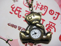 bear pocket watch - Red crown special Retro Teddy Bear Cartoon pocket watch pocket watch necklace RAHB079