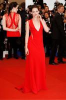 Wholesale Kristen Stewart Sexy Dress - Kristen Stewart Gorgeous Red V Neck Red Carpet Celebrity Dress the 65th Annual Cannes Film Festival