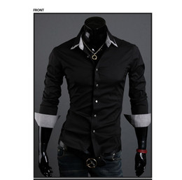 Wholesale Men s Shirt British Style Leisure Double Collar Design Fashion Men s Slim Fit Long Sleeved Shirt