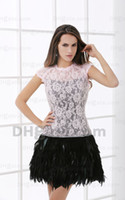 feather cocktail dress - 2013 New Arrival Short Sleeve Pink and Black Lace Feather Mini Cocktail Dresses DHgate00138
