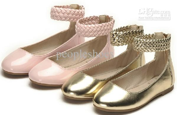 Pretty Gold Shoes Pink Color Girls Shoes Flat Shoes Tendon Sole ...