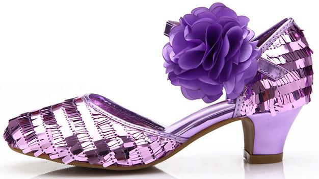 luxury shoes purple color sequined decoration in
