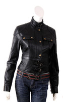 Wholesale Women leather jackets elegance casual slim fit erect collar with velcro closed front