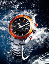 Hot Sale New Ocean Automatic Mens Mechanical Sea Black Dial Orange Bezel Watches Mens Stasinless Floding Bucklet
