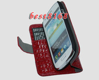 Leather For Samsung  Croco crocodile wallet Leather pouch case money pocket stand for Samsung Galaxy III I8190 mini 5pcs