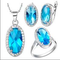 Wholesale 925 sterling silver plated K white gold gemstone necklace earrings Rings Fashion Jewelry Sets