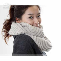 Wholesale Wool scarf Knitted long scarf Fashion Lovely Girls Women s Knit Neck Cowl Wrap Scarf Warmers