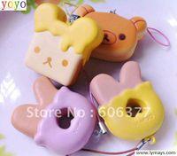 Universal Charm China (Mainland) Cute Rilakkuma pancake & honey toast & Rs bear head squishy cell phone charm,small order, free shipp
