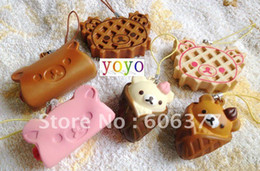 Wholesale new styles san x rilakkuma ice cream waffle cake sandwich squishy cell phone charm free shipp