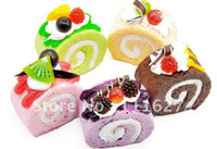 Wholesale New Jumbo Squishy Buns Fruit cake roll Charms Squishies Cell Phone Straps