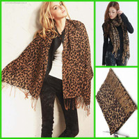 Wholesale freeship pure wool New Pashmina Scarf Shawl Leopard Warm Scarf Animal scarves Winter Wrap stole